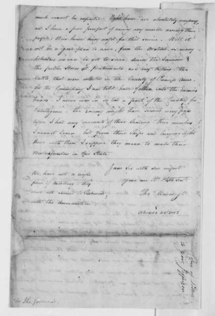 Edward Moody to George Muter, October 21, 1780, with letter from Thomas Nelson Jr.