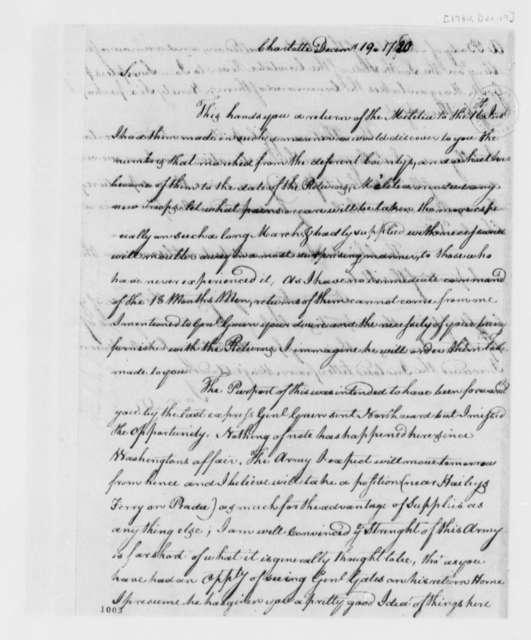 Edward Stevens to Thomas Jefferson, December 19, 1780