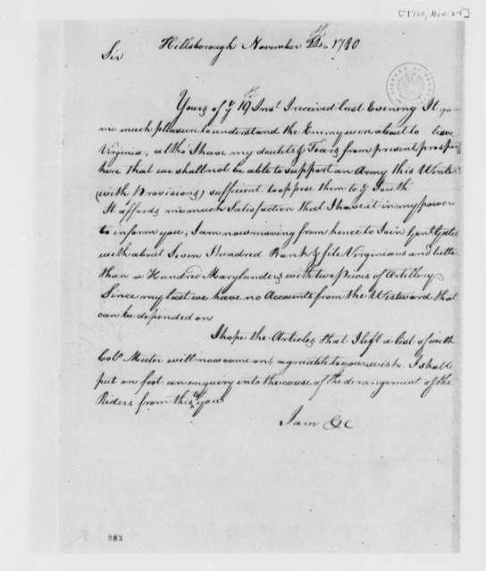 Edward Stevens to Thomas Jefferson, November 24, 1780