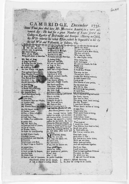 Father Abbey's will. To which is now added, a letter of courtship to his virtuous and amiable widow. Cambridge. December 1731 ... Boston. Sold at the Bible and Heart in Cornhill [after 1780].
