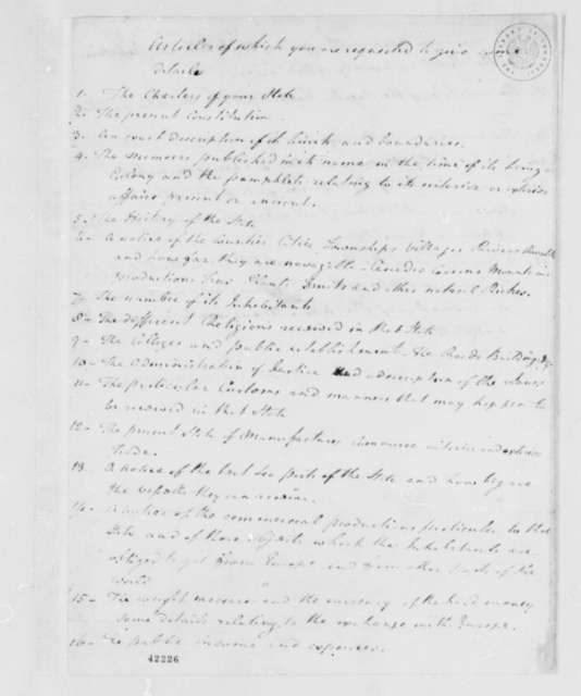 Francois, Marquis de Barbe-Marbois, October 1780, Queries on Virginia; in Hand of Joseph Jones