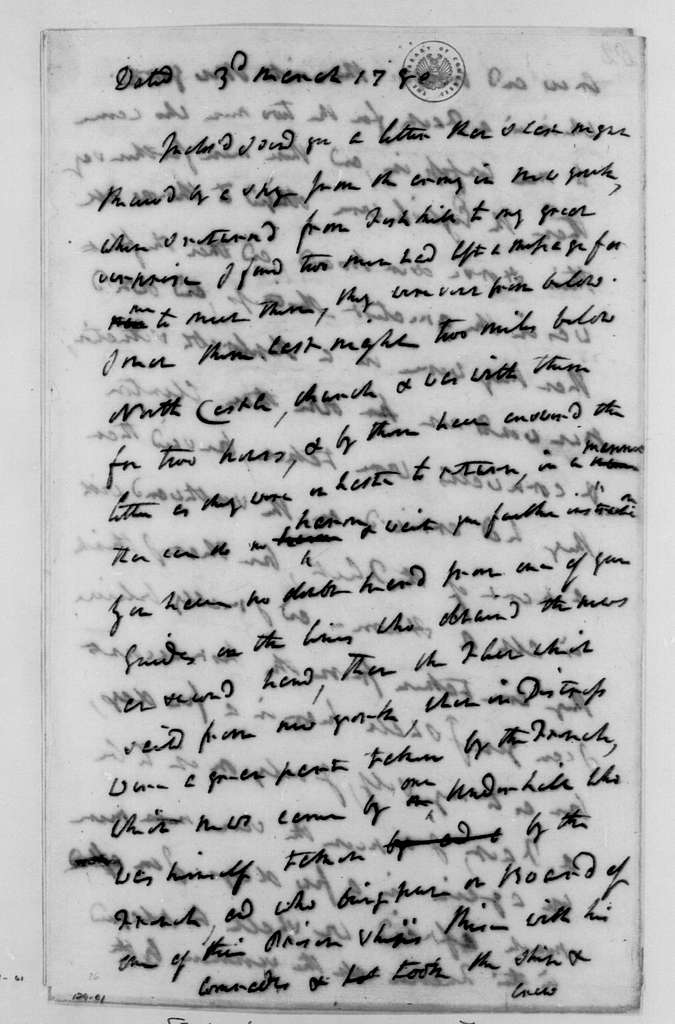 George Washington Papers, Series 4, General Correspondence: American Intelligence to Robert Howe, March 3, 1780