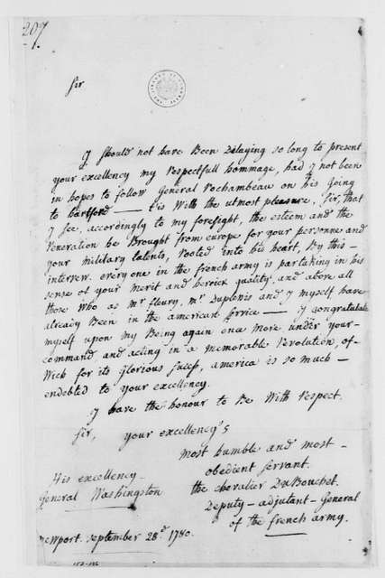 George Washington Papers, Series 4, General Correspondence: Denis J.F.L. de Montheville, Marquis du Bouchet to George Washington, September 28, 1780