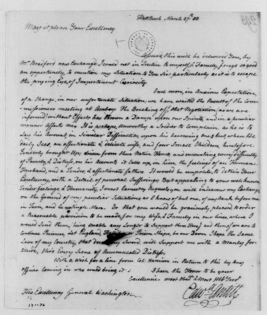 George Washington Papers, Series 4, General Correspondence: Edward Antill to George Washington, March 27, 1780