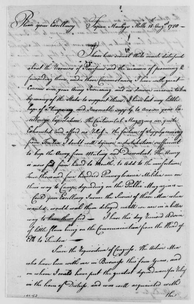 George Washington Papers, Series 4, General Correspondence: Ephraim Blaine to George Washington, August 15, 1780