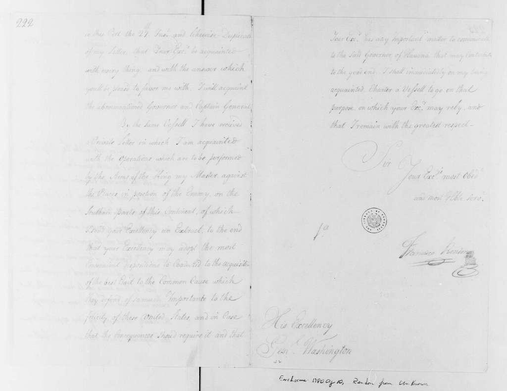 George Washington Papers, Series 4, General Correspondence: Francisco Rendon to George Washington, September 30, 1780