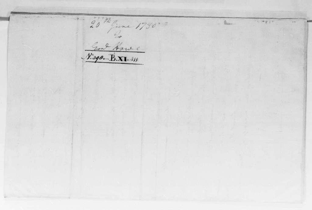 George Washington Papers, Series 4, General Correspondence: George Washington to Robert Howe, June 20, 1780
