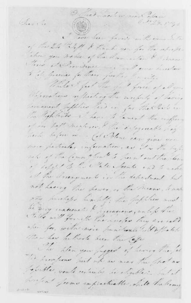 George Washington Papers, Series 4, General Correspondence: George Washington to William Heath, October 28, 1780