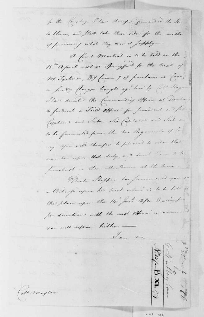 George Washington Papers, Series 4, General Correspondence: George Washington to Stephen Moylan, March 8, 1780