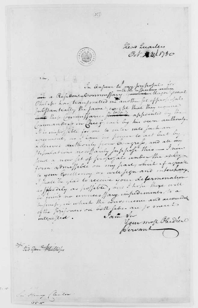 George Washington Papers, Series 4, General Correspondence: George Washington to Henry Clinton, October 21, 1780