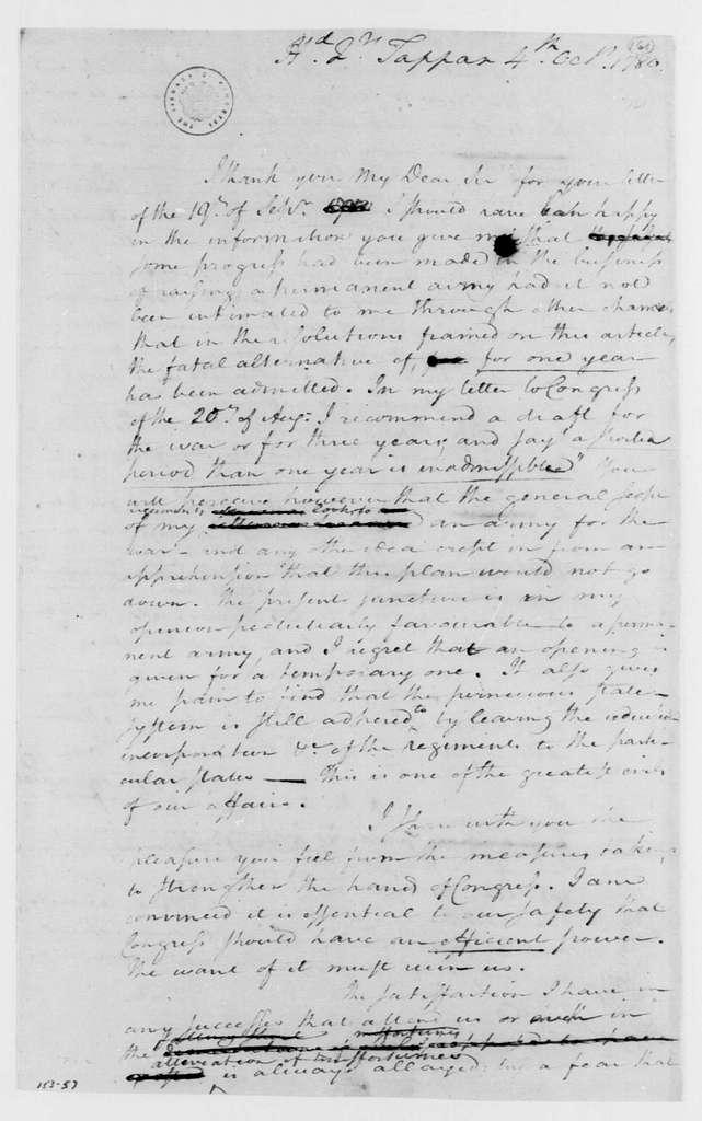 George Washington Papers, Series 4, General Correspondence: George Washington to James Duane, October 4, 1780