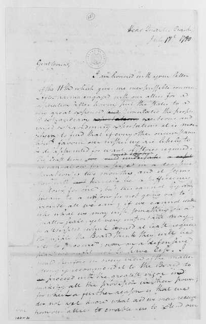 George Washington Papers, Series 4, General Correspondence: George Washington to Continental Congress War Board, July 18, 1780