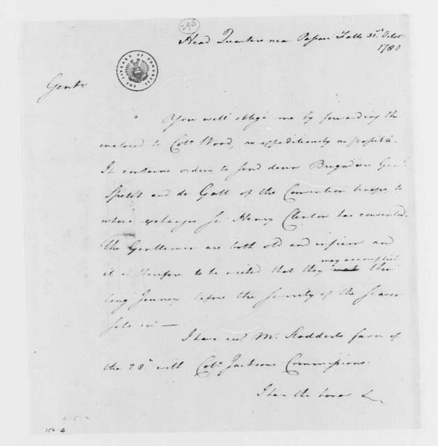 George Washington Papers, Series 4, General Correspondence: George Washington to Continental Congress War Board, October 31, 1780