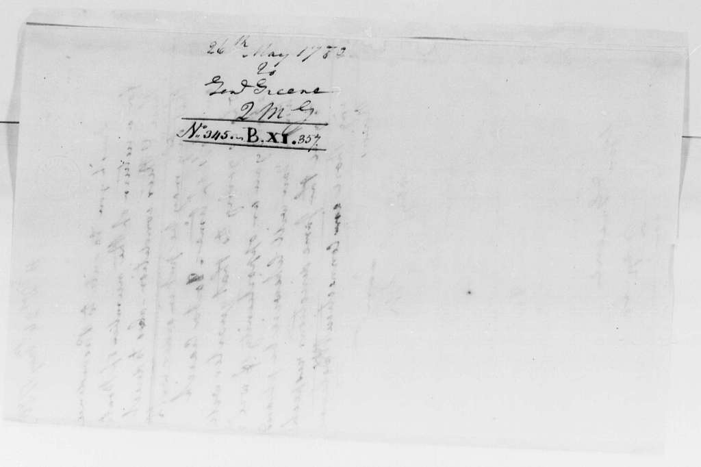 George Washington Papers, Series 4, General Correspondence: George Washington to Nathanael Greene, May 26, 1780