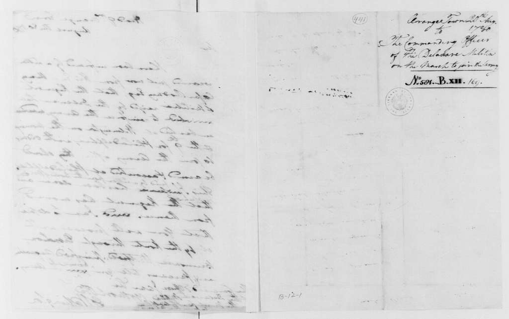 George Washington Papers, Series 4, General Correspondence: George Washington to Delaware Militia Commanding Officer, August 20, 1780