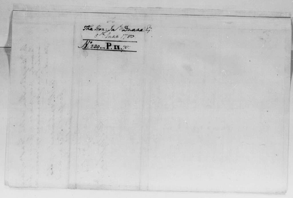 George Washington Papers, Series 4, General Correspondence: George Washington to James Duane, June 5, 1780