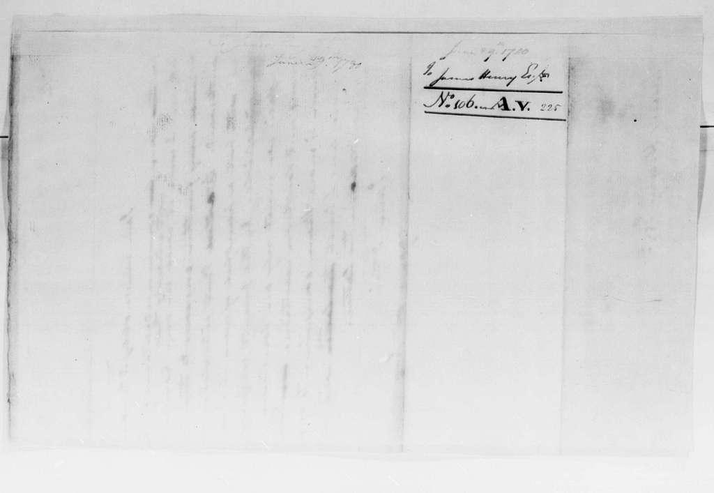 George Washington Papers, Series 4, General Correspondence: George Washington to James Henry, June 29, 1780