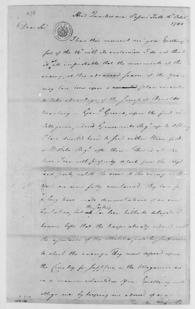 George Washington Papers, Series 4, General Correspondence: George Washington to George Clinton, October 16, 1780
