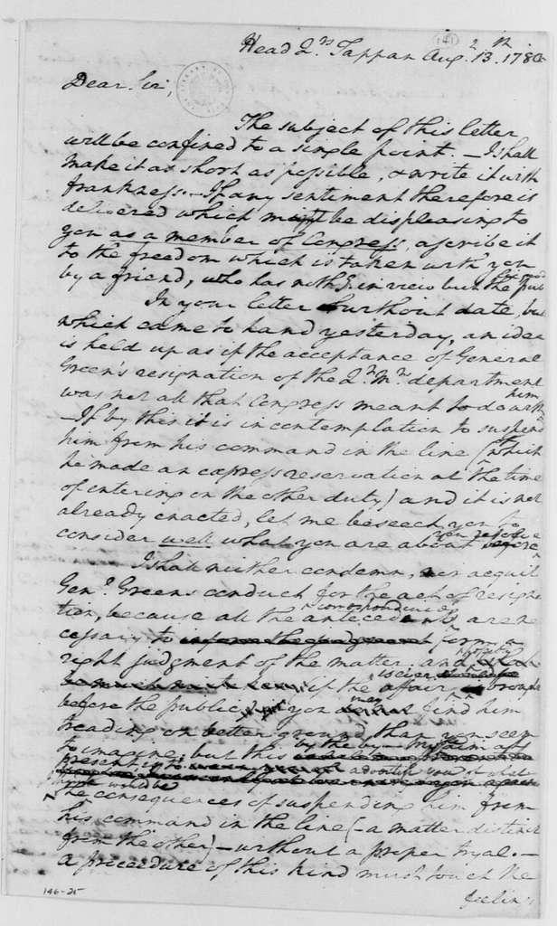 George Washington Papers, Series 4, General Correspondence: George Washington to Joseph Jones, August 13, 1780