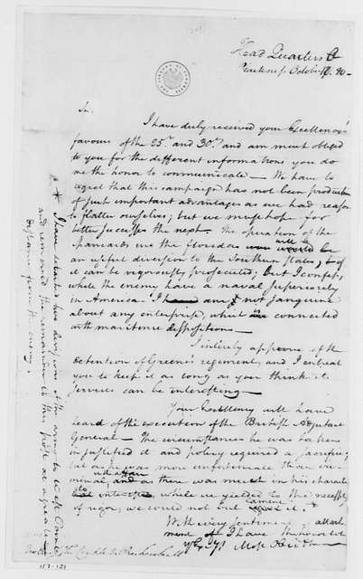 George Washington Papers, Series 4, General Correspondence: George Washington to Jean B. Donatien de Vimeur, Comte de Rochambeau, October 10, 1780