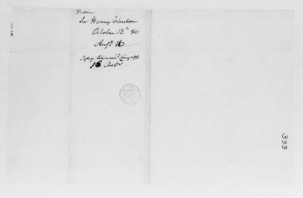 George Washington Papers, Series 4, General Correspondence: Henry Clinton to George Washington, October 13, 1780