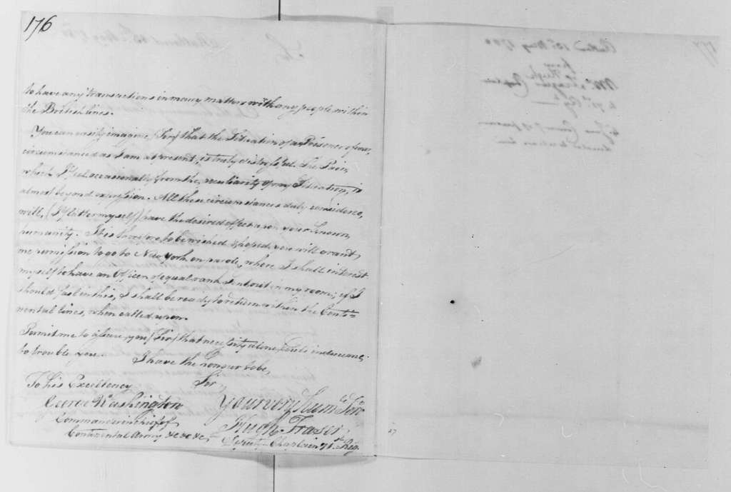 George Washington Papers, Series 4, General Correspondence: Hugh Fraser to George Washington, May 13, 1780