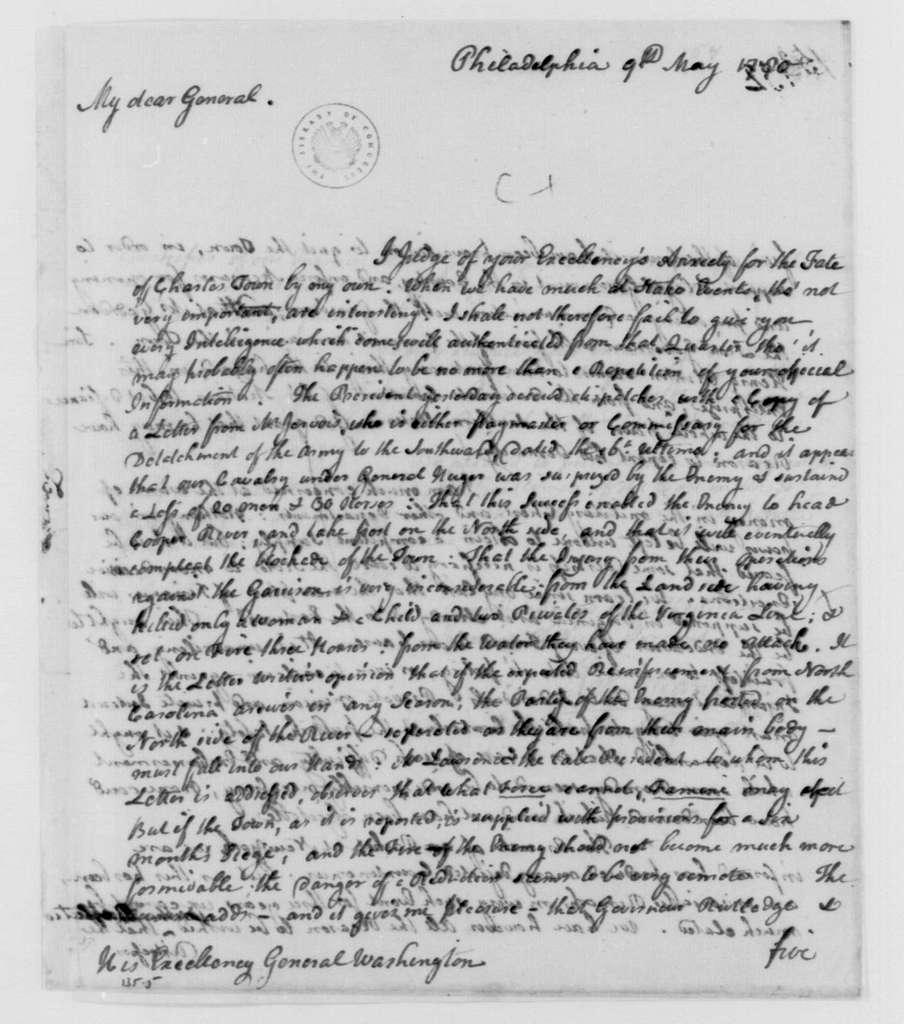 George Washington Papers, Series 4, General Correspondence: James Duane to George Washington, May 9, 1780