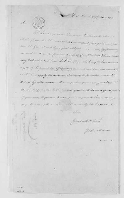 George Washington Papers, Series 4, General Correspondence: John Mason to Richard Varick, September 22, 1780