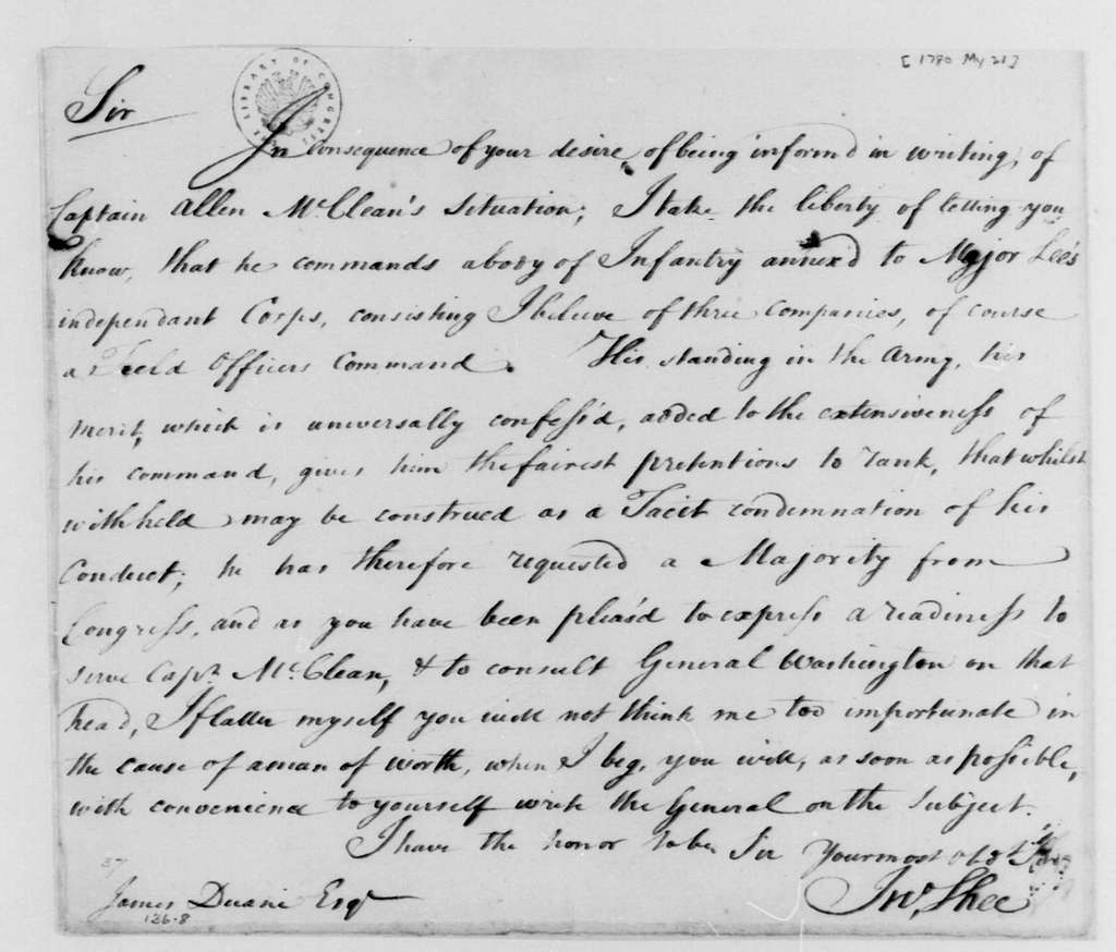 George Washington Papers, Series 4, General Correspondence: John Shee to James Duane, May 21, 1780