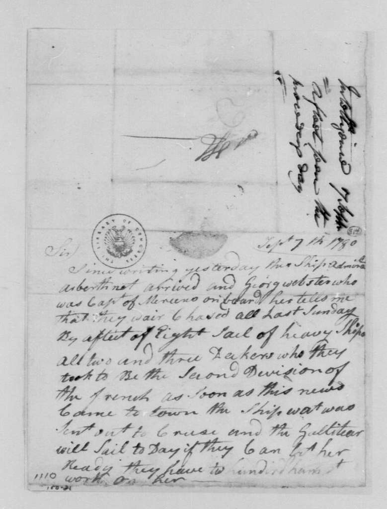 George Washington Papers, Series 4, General Correspondence: John Vanderhoven to John Hendricks, September 7, 1780