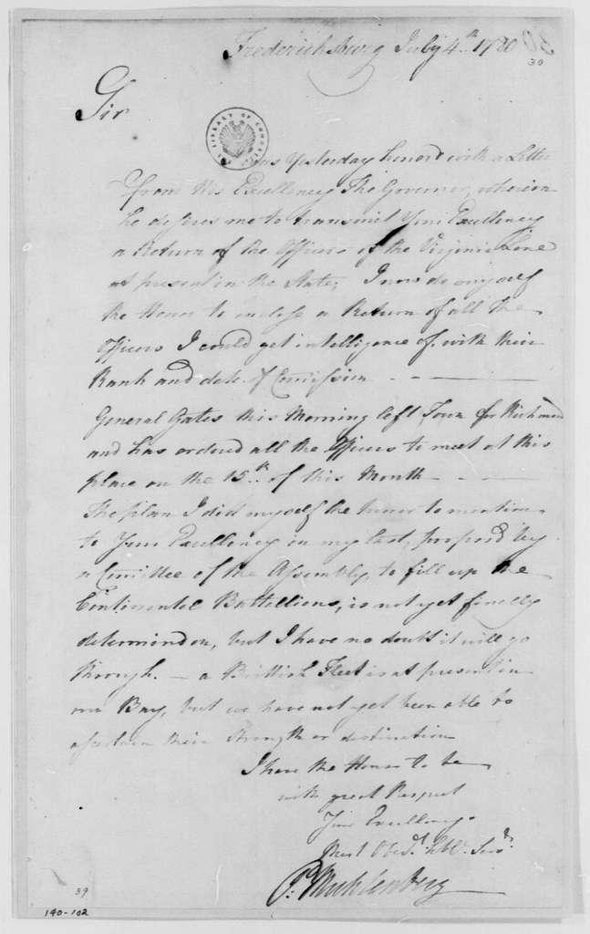 George Washington Papers, Series 4, General Correspondence: Peter Muhlenberg to George Washington, July 4, 1780