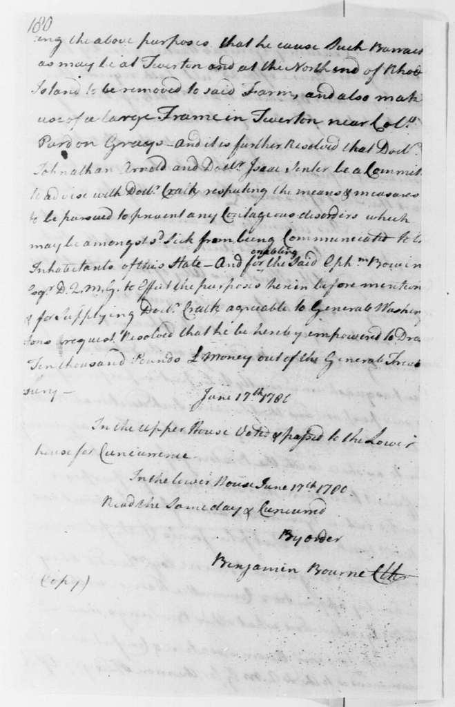 George Washington Papers, Series 4, General Correspondence: Rhode Island General Assembly, June 17, 1780
