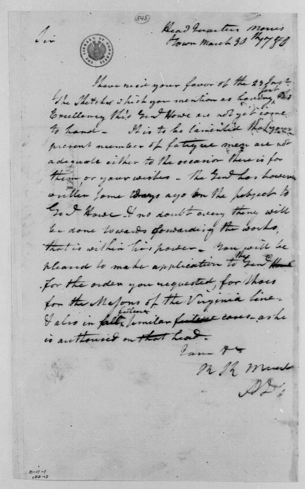 George Washington Papers, Series 4, General Correspondence: Richard K. Meade to Thaddeus Kosciuszko, March 30, 1780