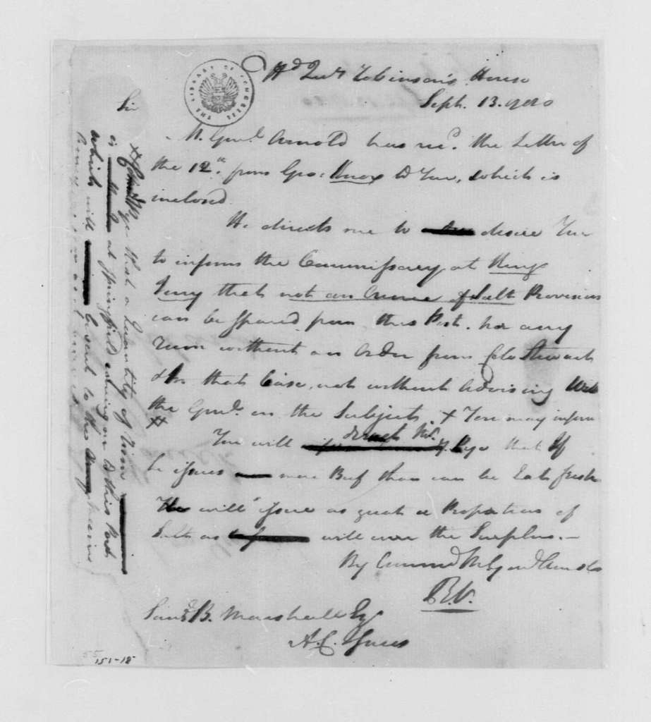 George Washington Papers, Series 4, General Correspondence: Richard Varick to Samuel B Marshall, September 13, 1780