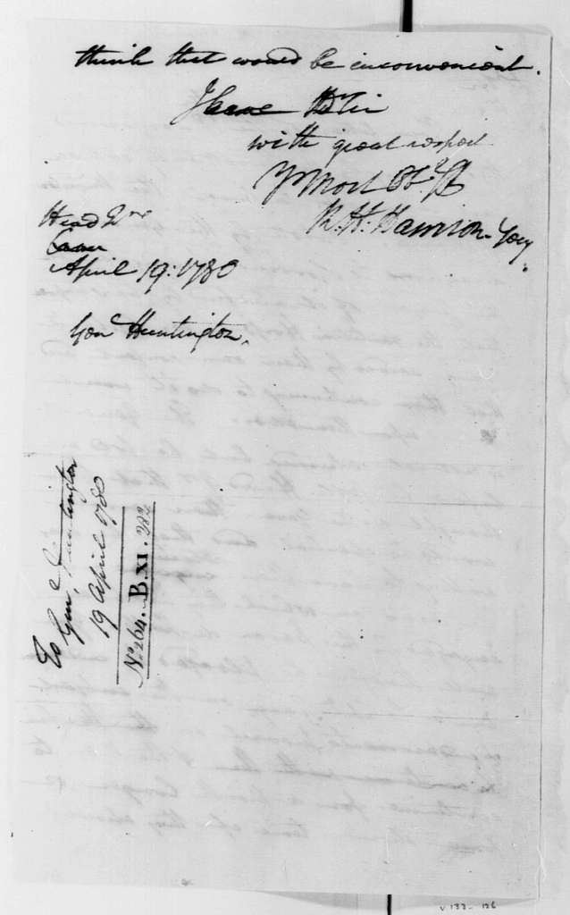 George Washington Papers, Series 4, General Correspondence: Robert H. Harrison to Jedidiah Huntington, April 19, 1780
