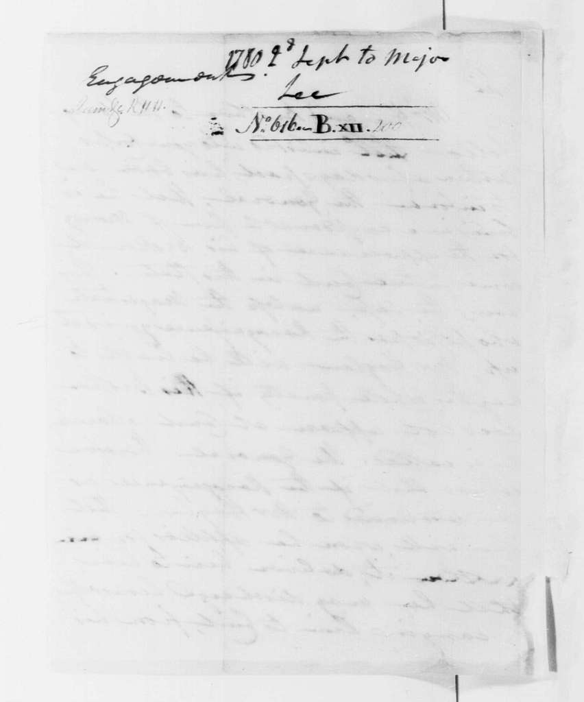 George Washington Papers, Series 4, General Correspondence: Robert H. Harrison to Henry Lee Jr., September 2, 1780