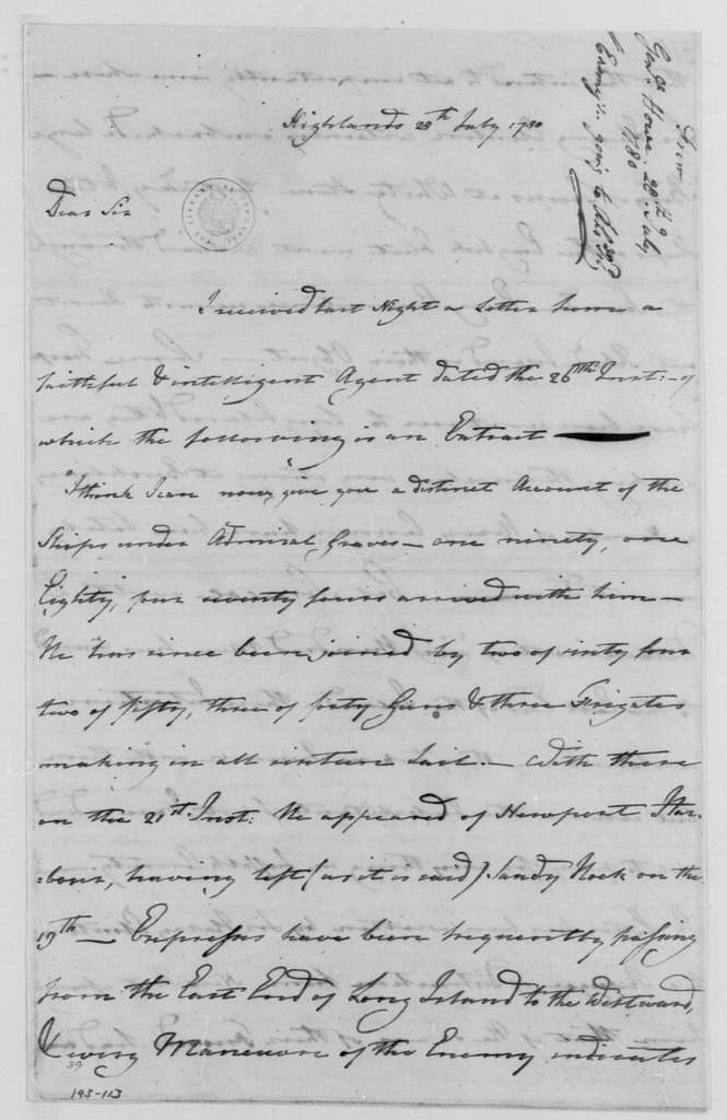 George Washington Papers, Series 4, General Correspondence: Robert Howe to George Washington, July 28, 1780