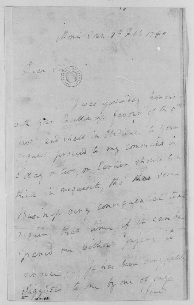 George Washington Papers, Series 4, General Correspondence: Robert Howe to George Washington, February 7, 1780