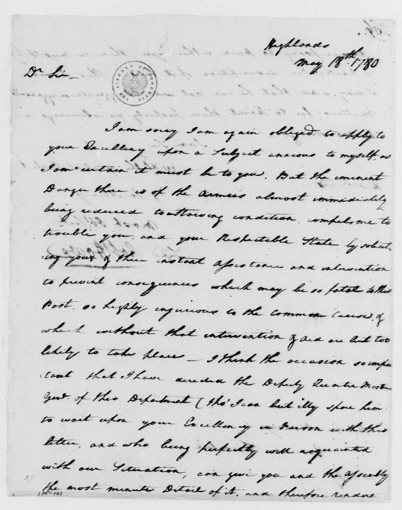 George Washington Papers, Series 4, General Correspondence: Robert Howe to Jonathan Trumbull, May 18, 1780