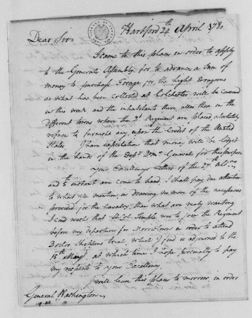 George Washington Papers, Series 4, General Correspondence: Stephen Moylan to George Washington, April 24, 1780