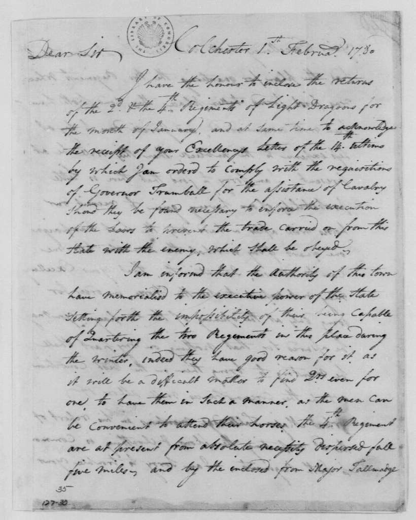 George Washington Papers, Series 4, General Correspondence: Stephen Moylan to George Washington, February 1, 1780