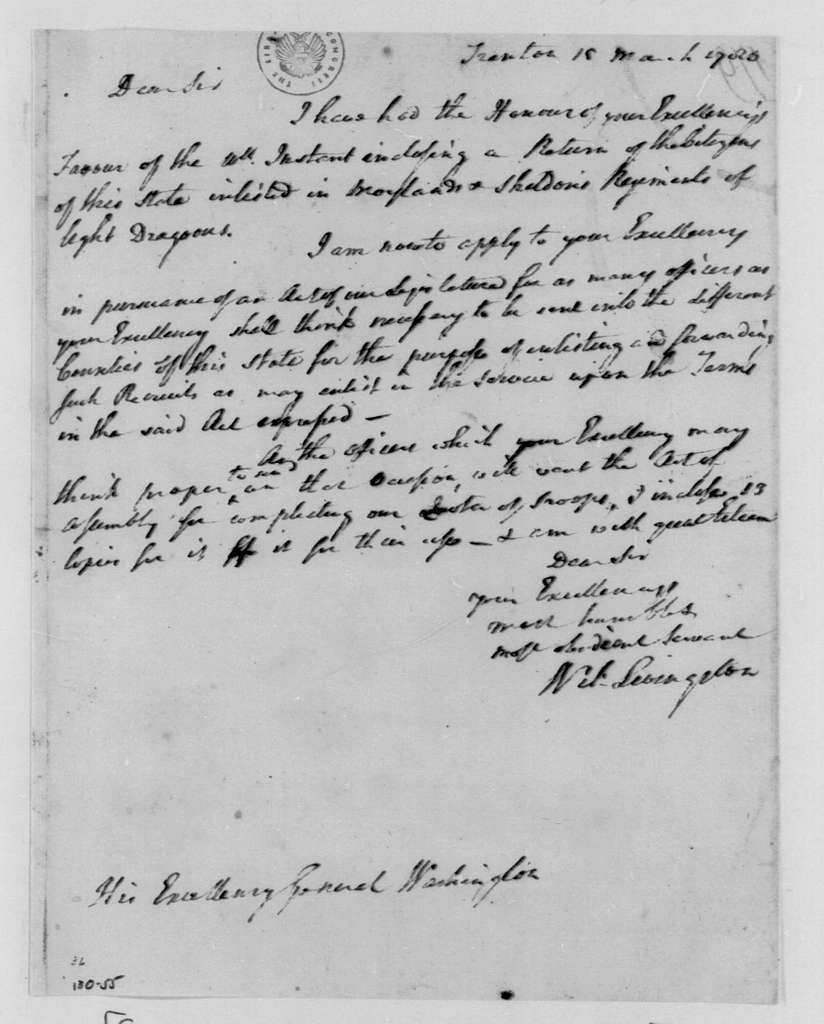 George Washington Papers, Series 4, General Correspondence: William Livingston to George Washington, March 15, 1780