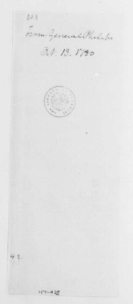 George Washington Papers, Series 4, General Correspondence: William Phillips to George Washington, October 13, 1780