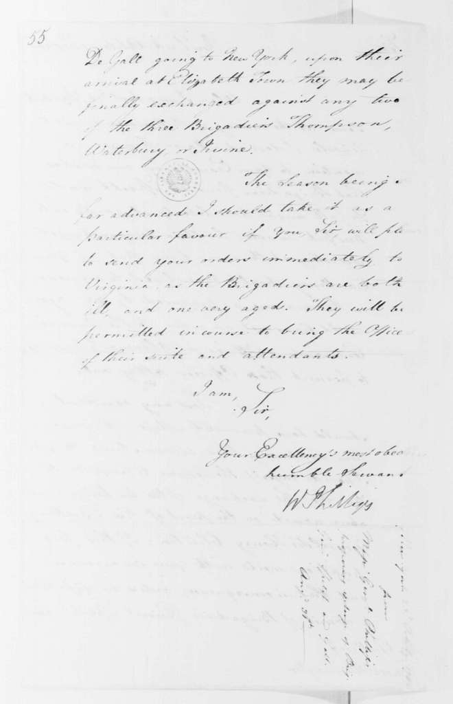 George Washington Papers, Series 4, General Correspondence: William Phillips to George Washington, October 23, 1780