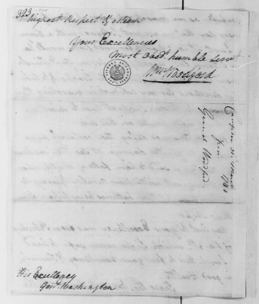 George Washington Papers, Series 4, General Correspondence: William Woodford to George Washington, March 31, 1780