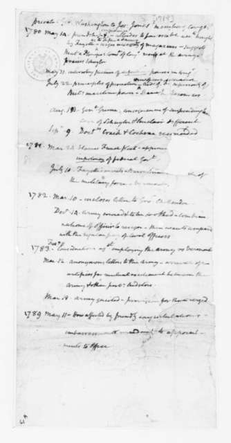 George Washington to Joseph Jones, May 14, 1780. James Madison List to 1789 MAY 11.
