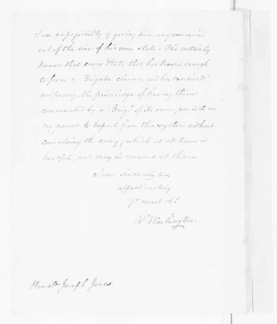 George Washington to Joseph Jones, May 31, 1780. with James Madison Notation.