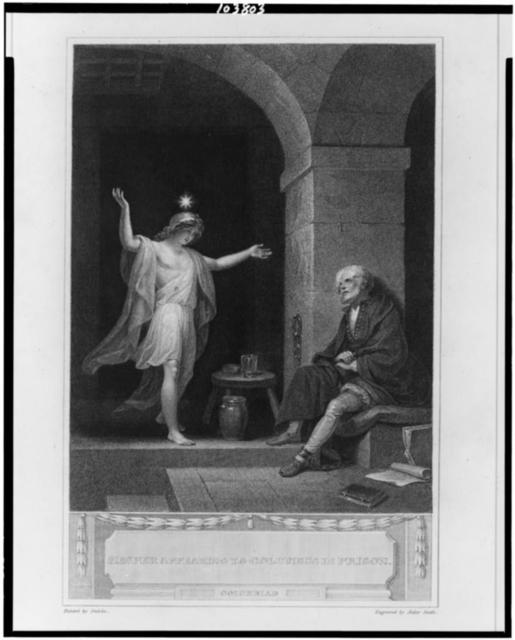 Hesper appearing to Columbus in prison / drawn by Smirke : engraved by Anker Smith.