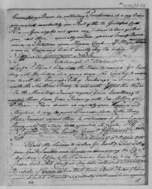 Horatio Gates to Abner Nash, October 3, 1780