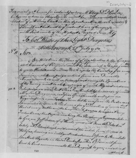 Horatio Gates to Anthony W. White, July 20, 1780